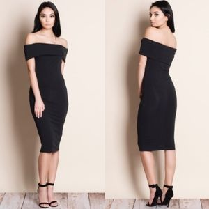 PAXTON Off Shoulder Midi Dress - BLACK
